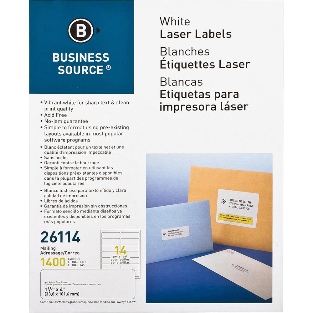 """Business Source Bright White Premium-quality Address Labels - 1 1/3"""" x 4"""" Length - Permanent Adhesive - Rectangle - Laser, Inkjet - White - 14 / Sheet - 100 Total Sheets - 1400 / Pack. Picture 1"""