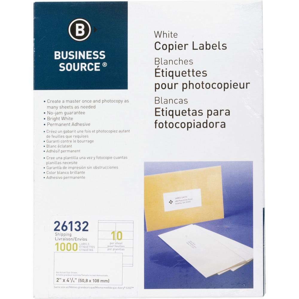 "Business Source Copier Shipping Labels - 2"" x 4 1/4"" Length - Rectangle - White - 10 / Sheet - 1000 / Pack. Picture 1"