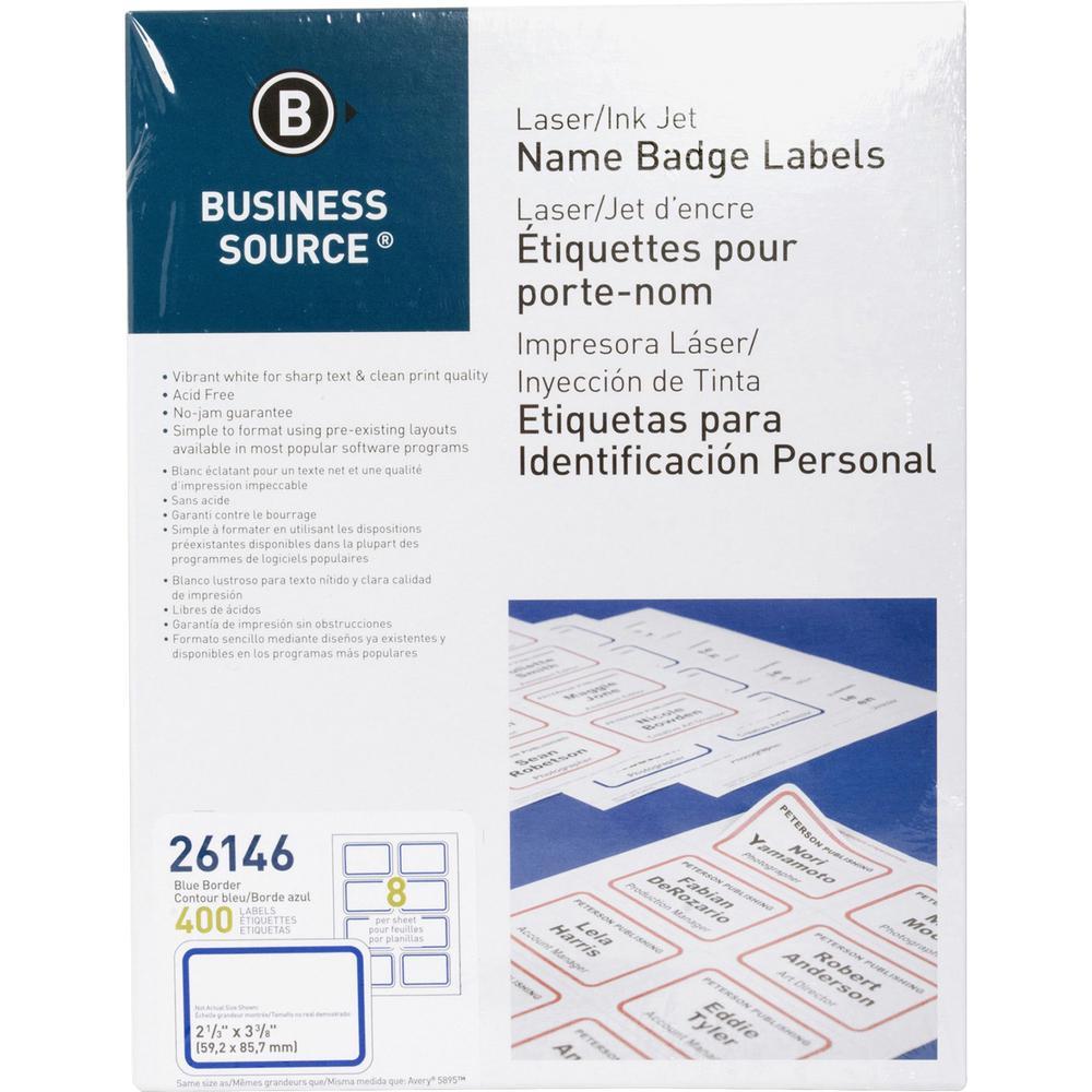 """Business Source Laser/Inkjet Name Badge Labels - 2.33"""" x 3.38"""" Length - Rectangle - Laser, Inkjet - Blue - 8 / Sheet - 400 / Pack. Picture 1"""