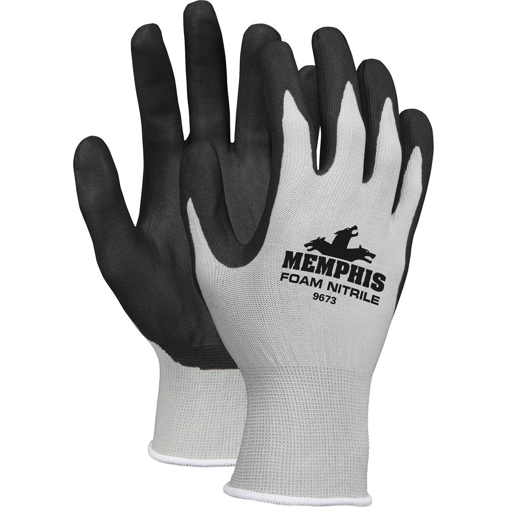 Memphis Nitrile Coated Knit Gloves - Large Size - Nylon, Foam, Nitrile - Gray, Black - Knit Wrist, Comfortable, Durable, Cut Resistant, Seamless, Spill Resistant - For Industrial, Multipurpose - 1 / P. Picture 1