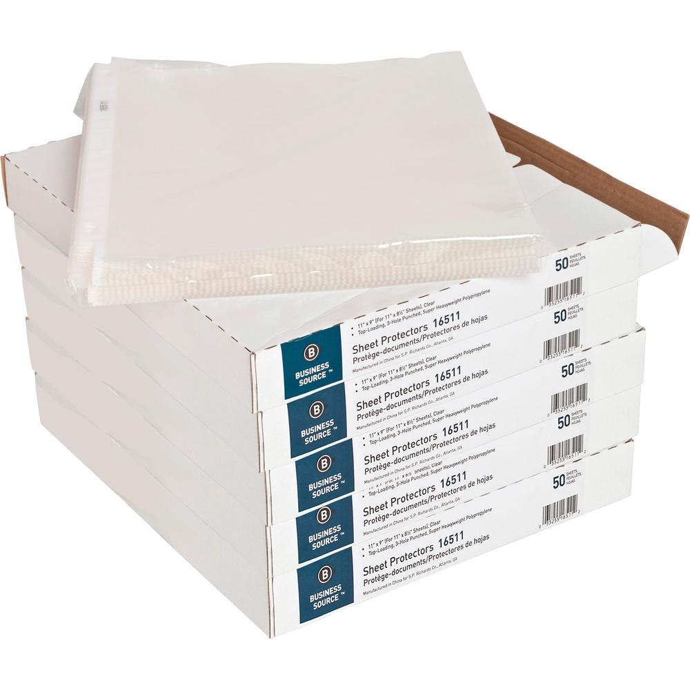 """Business Source Top-Loading Poly Sheet Protectors - 5 mil Thickness - For Letter 8 1/2"""" x 11"""" Sheet - Rectangular - Clear - Polypropylene - 50 / Box. Picture 1"""