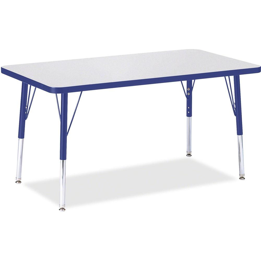 "Berries Elementary Height Gray Top Rectangular Table - Gray Rectangle, Laminated Top - Four Leg Base - 4 Legs - 36"" Table Top Length x 24"" Table Top Width x 1.13"" Table Top Thickness - 24"" Height - As. Picture 1"
