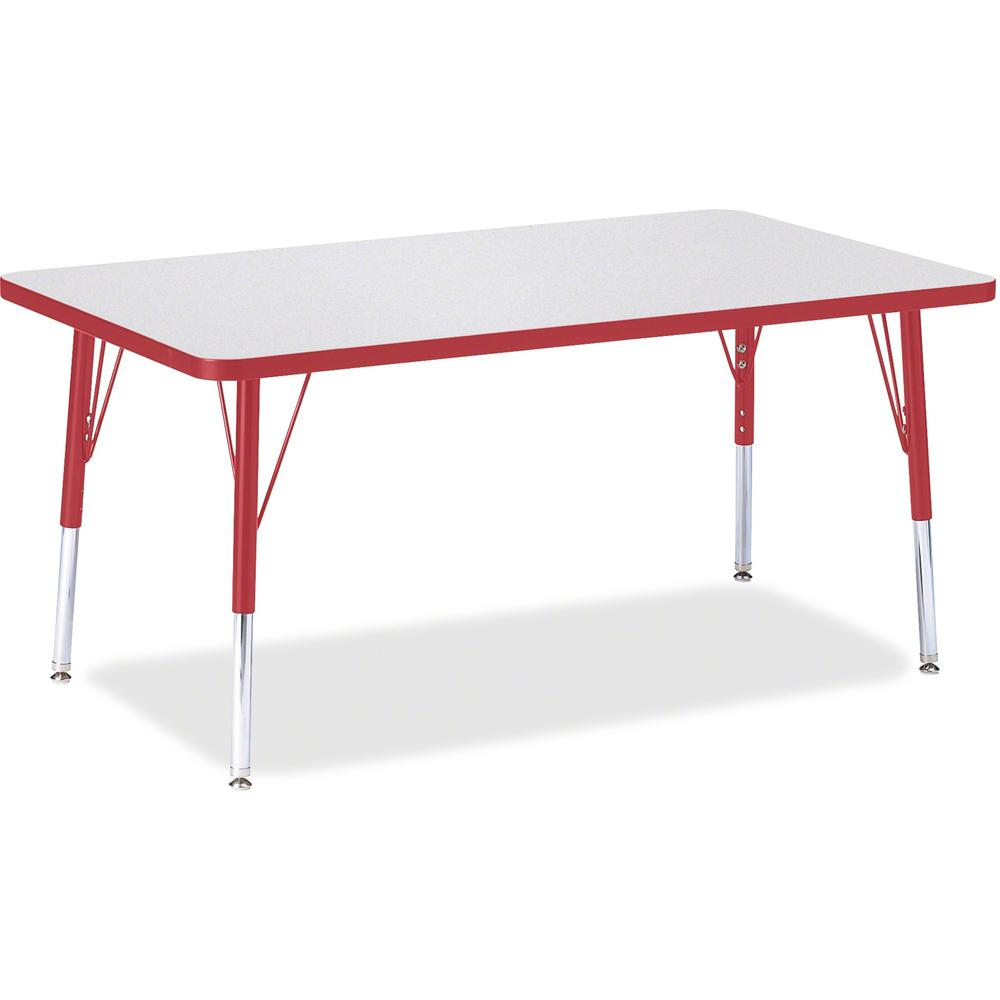 """Berries Elementary Height Gray Top Rectangular Table - Gray Rectangle, Laminated Top - Four Leg Base - 4 Legs - 48"""" Table Top Length x 30"""" Table Top Width x 1.13"""" Table Top Thickness - 24"""" Height - As. Picture 1"""