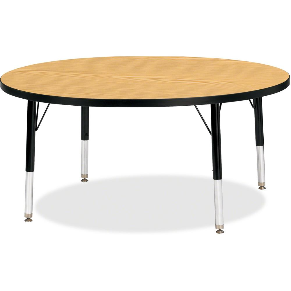 """Jonti-Craft Berries Toddler Height Color Top Round Table - Black Oak Round, Laminated Top - Four Leg Base - 4 Legs - 1.13"""" Table Top Thickness x 42"""" Table Top Diameter - 15"""" Height - Assembly Required. Picture 1"""