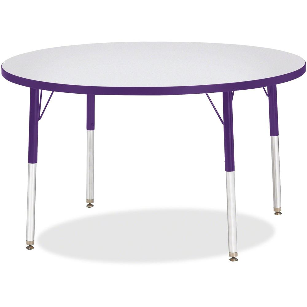 """Berries Elementary Height Color Edge Round Table - Gray Round Top - Four Leg Base - 4 Legs - 1.13"""" Table Top Thickness x 42"""" Table Top Diameter - Assembly Required - Freckled Gray Laminate, Thermofuse. Picture 1"""