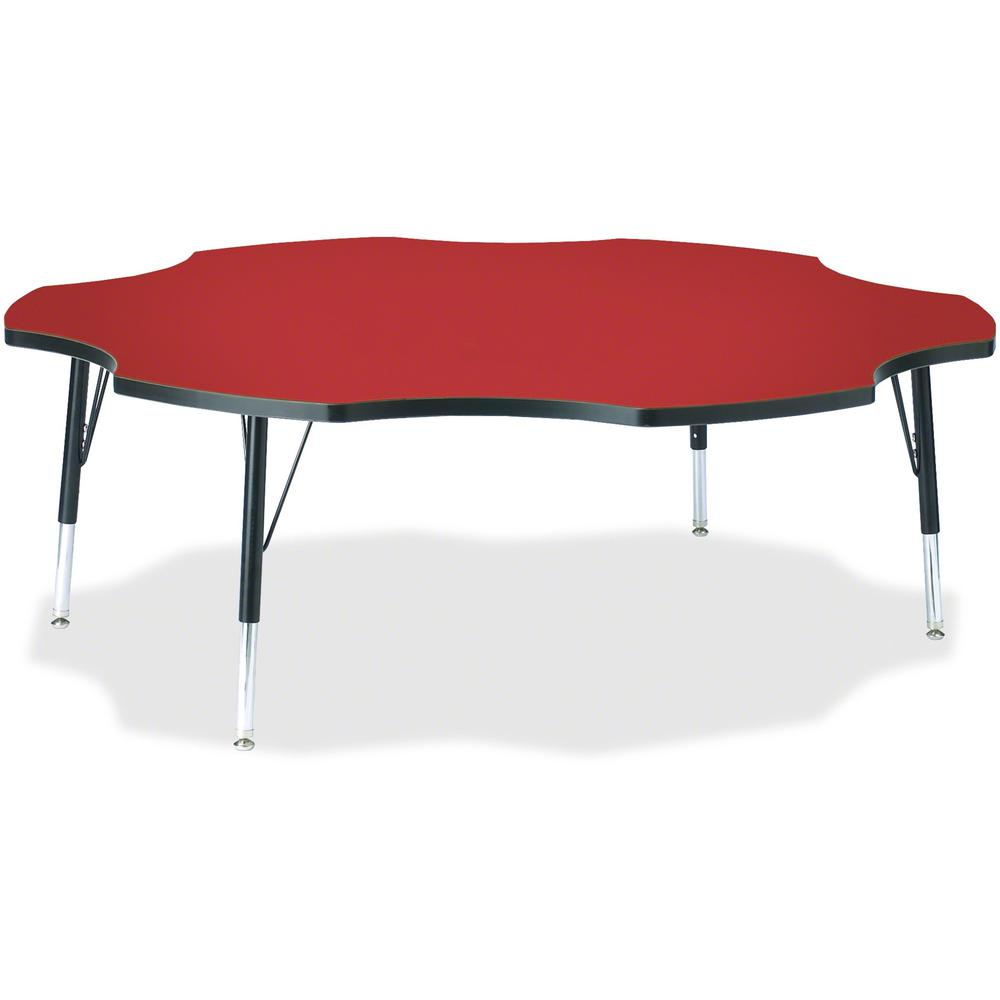 """Jonti-Craft Berries Toddler Black Edge Six-leaf Table - Laminated, Red Top - Four Leg Base - 4 Legs - 1.13"""" Table Top Thickness x 60"""" Table Top Diameter - 15"""" Height - Assembly Required - Powder Coate. Picture 1"""