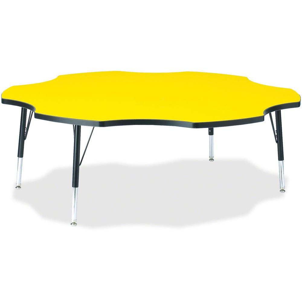 "Jonti-Craft Berries Toddler Black Edge Six-leaf Table - Laminated, Yellow Top - Four Leg Base - 4 Legs - 1.13"" Table Top Thickness x 60"" Table Top Diameter - 15"" Height - Assembly Required - Powder Co. Picture 1"