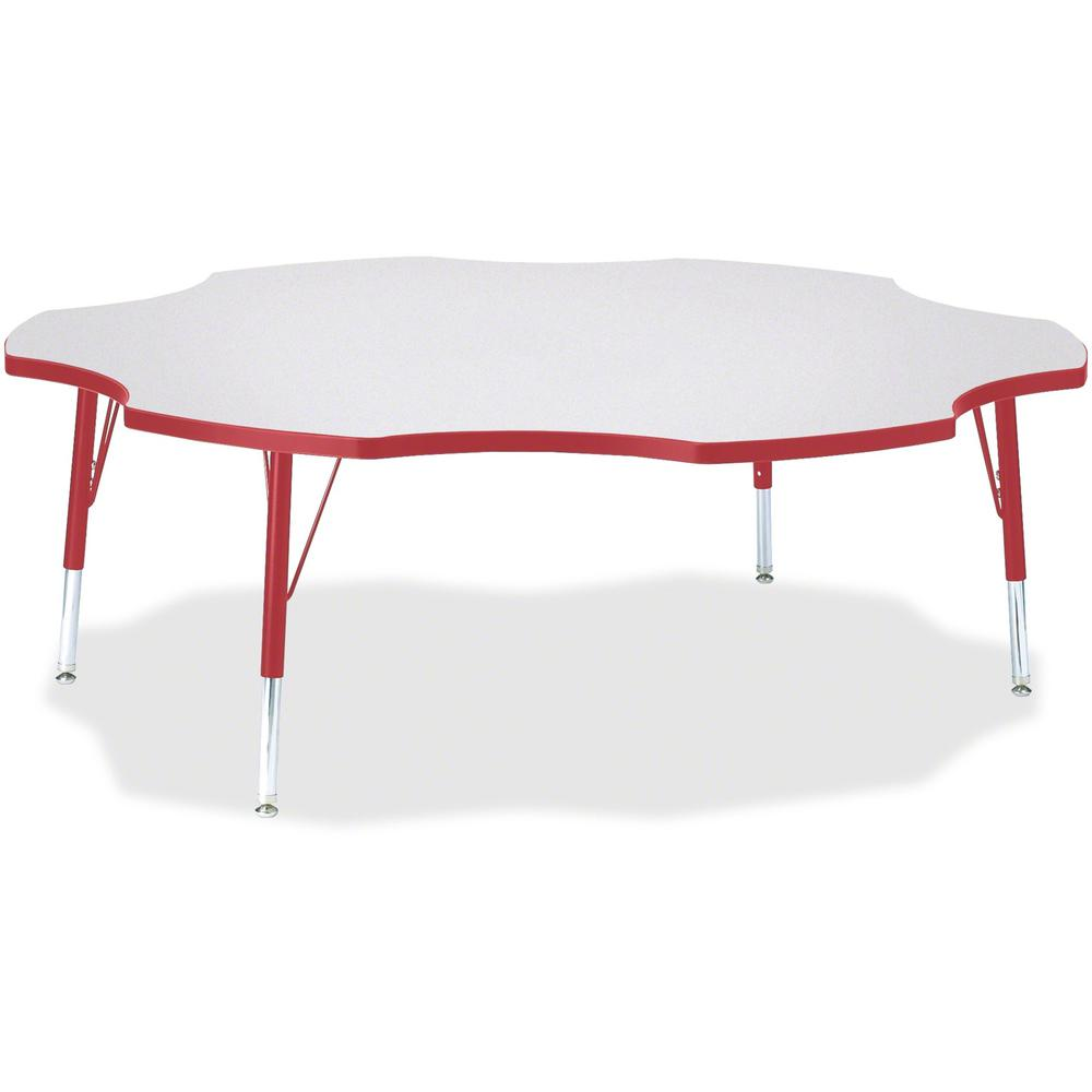 "Berries Prism Six-Leaf Student Table - Laminated, Red Top - Four Leg Base - 4 Legs - 1.13"" Table Top Thickness x 60"" Table Top Diameter - 15"" Height - Assembly Required - Powder Coated. Picture 1"