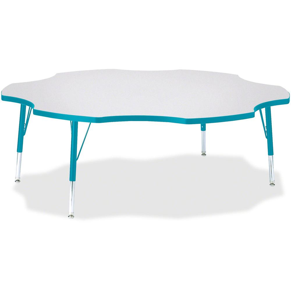 """Berries Prism Six-Leaf Student Table - Laminated, Teal Top - Four Leg Base - 4 Legs - 1.13"""" Table Top Thickness x 60"""" Table Top Diameter - 15"""" Height - Assembly Required - Powder Coated. Picture 1"""