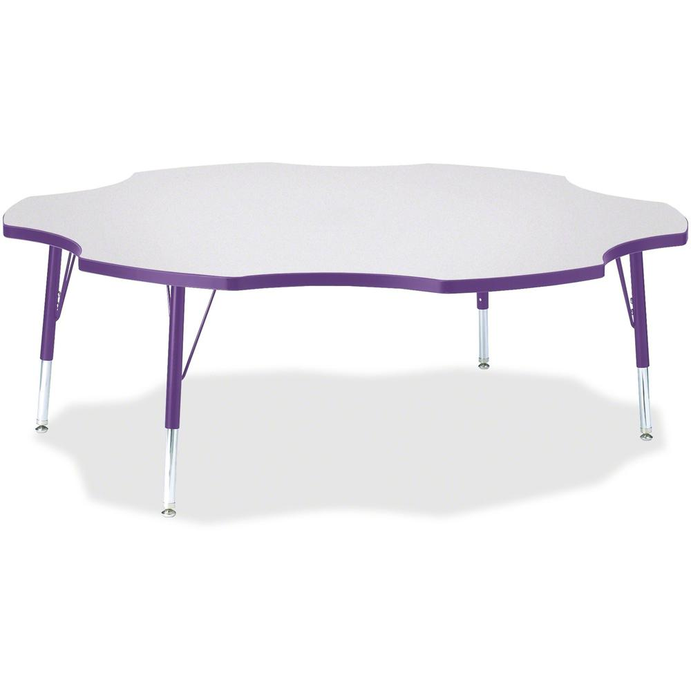"Jonti-Craft Berries Prism Six-Leaf Student Table - Laminated, Purple Top - Four Leg Base - 4 Legs - 1.13"" Table Top Thickness x 60"" Table Top Diameter - 15"" Height - Assembly Required - Powder Coated. Picture 1"