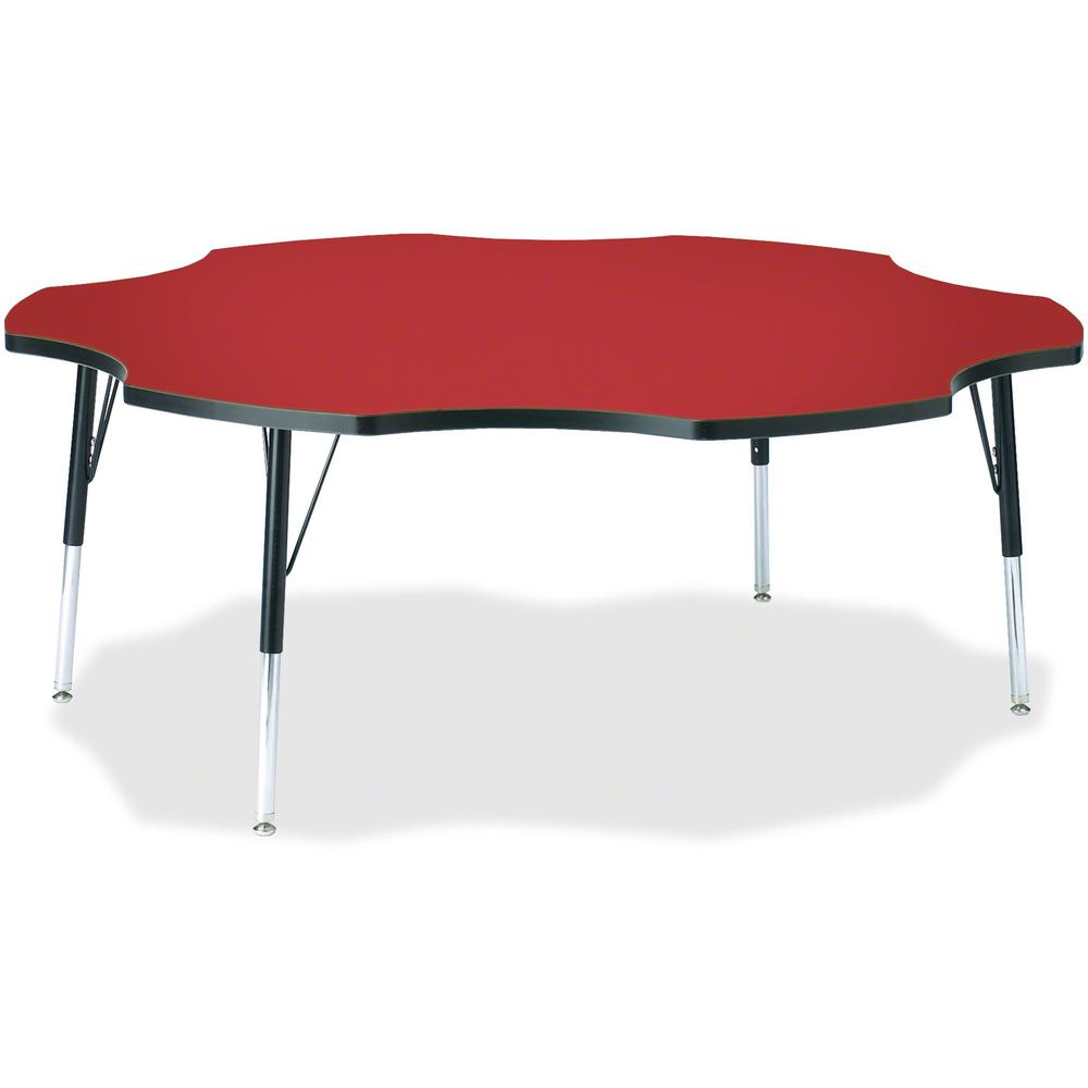 """Berries Elementary Black Edge Six-leaf Table - Laminated, Red Top - Four Leg Base - 4 Legs - 1.13"""" Table Top Thickness x 60"""" Table Top Diameter - 24"""" Height - Assembly Required - Powder Coated. Picture 1"""