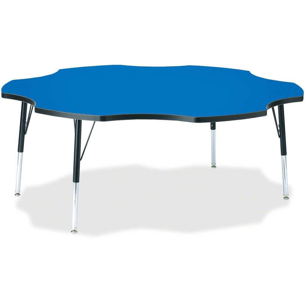 "Jonti-Craft Berries Elementary Black Edge Six-leaf Table - Blue, Laminated Top - Four Leg Base - 4 Legs - 1.13"" Table Top Thickness x 60"" Table Top Diameter - 24"" Height - Assembly Required - Powder C. Picture 1"