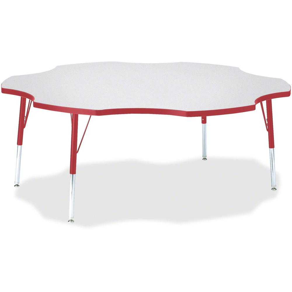 """Berries Elementary Height Prism Six-Leaf Table - Laminated, Red Top - Four Leg Base - 4 Legs - 1.13"""" Table Top Thickness x 60"""" Table Top Diameter - 24"""" Height - Assembly Required - Powder Coated. Picture 1"""