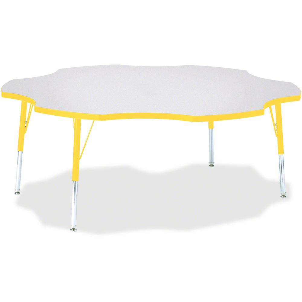 """Jonti-Craft Berries Elementary Height Prism Six-Leaf Table - Laminated, Yellow Top - Four Leg Base - 4 Legs - 1.13"""" Table Top Thickness x 60"""" Table Top Diameter - 24"""" Height - Assembly Required - Powd. Picture 1"""