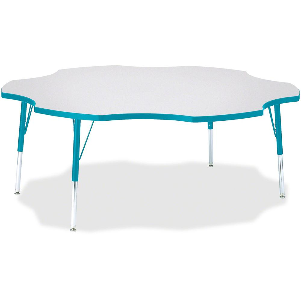 """Jonti-Craft Berries Elementary Height Prism Six-Leaf Table - Laminated, Teal Top - Four Leg Base - 4 Legs - 1.13"""" Table Top Thickness x 60"""" Table Top Diameter - 24"""" Height - Assembly Required - Powder. Picture 1"""
