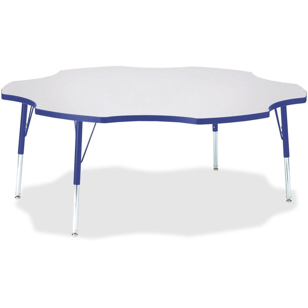 """Berries Elementary Height Prism Six-Leaf Table - Blue, Laminated Top - Four Leg Base - 4 Legs - 1.13"""" Table Top Thickness x 60"""" Table Top Diameter - 24"""" Height - Assembly Required - Powder Coated. Picture 1"""