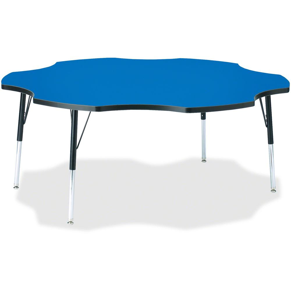 """Berries Adult Black Edge Six-leaf Table - Blue, Laminated Top - Four Leg Base - 4 Legs - 1.13"""" Table Top Thickness x 60"""" Table Top Diameter - 31"""" Height - Assembly Required - Powder Coated. Picture 1"""