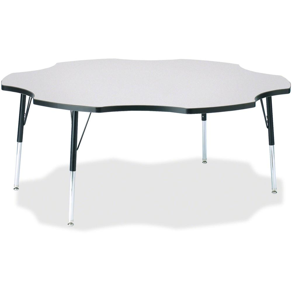 """Berries Prism Six-Leaf Student Table - Black, Laminated Top - Four Leg Base - 4 Legs - 1.13"""" Table Top Thickness x 60"""" Table Top Diameter - 31"""" Height - Assembly Required - Powder Coated. Picture 1"""