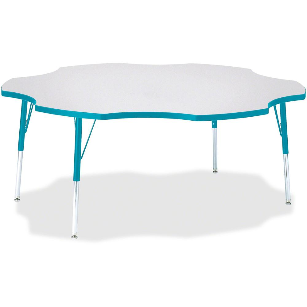 """Berries Prism Six-Leaf Student Table - Laminated, Teal Top - Four Leg Base - 4 Legs - 1.13"""" Table Top Thickness x 60"""" Table Top Diameter - 31"""" Height - Assembly Required - Powder Coated. Picture 1"""