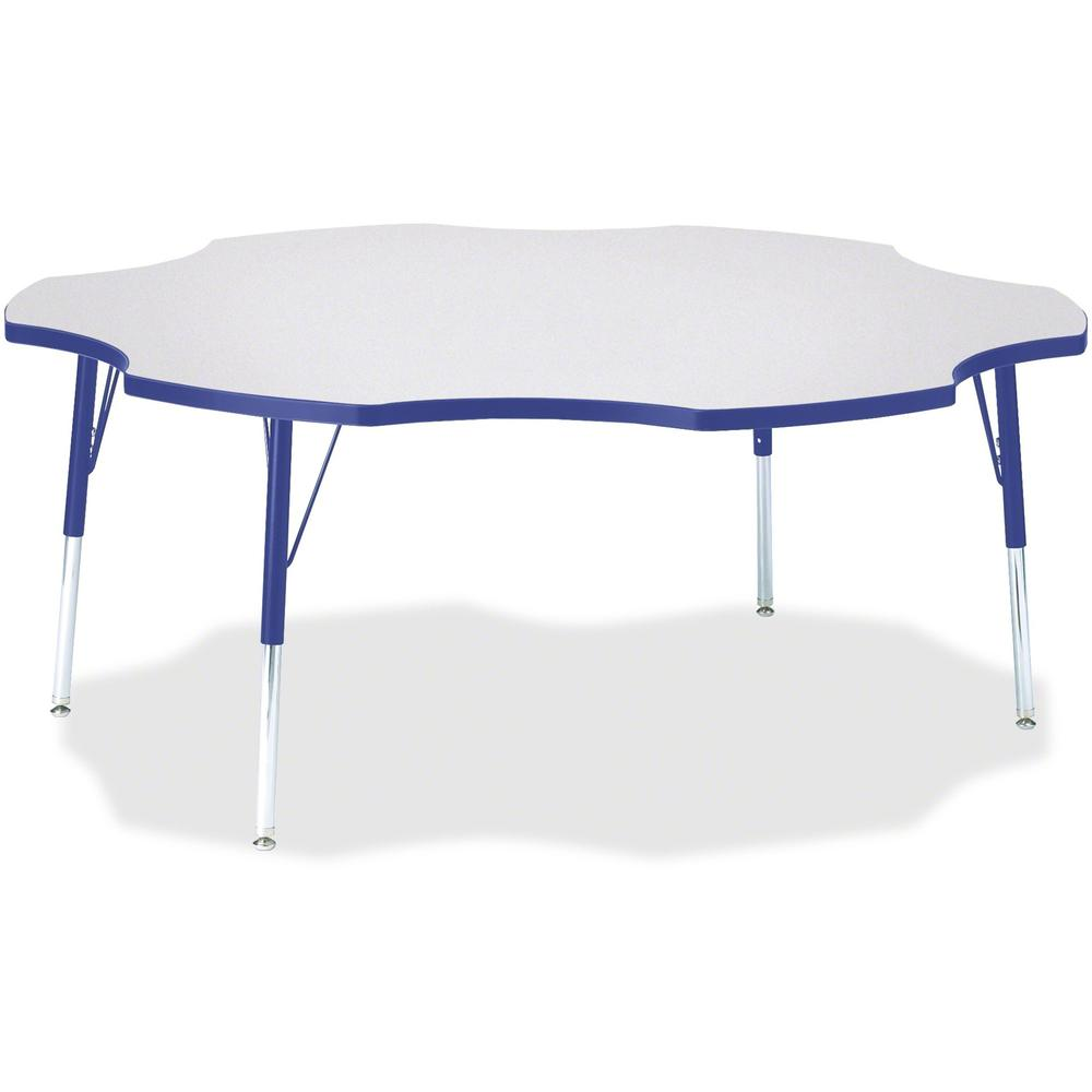 """Jonti-Craft Berries Prism Six-Leaf Student Table - Gray, Laminated Top - Four Leg Base - 4 Legs - 1.13"""" Table Top Thickness x 60"""" Table Top Diameter - 31"""" Height - Assembly Required - Powder Coated. Picture 1"""