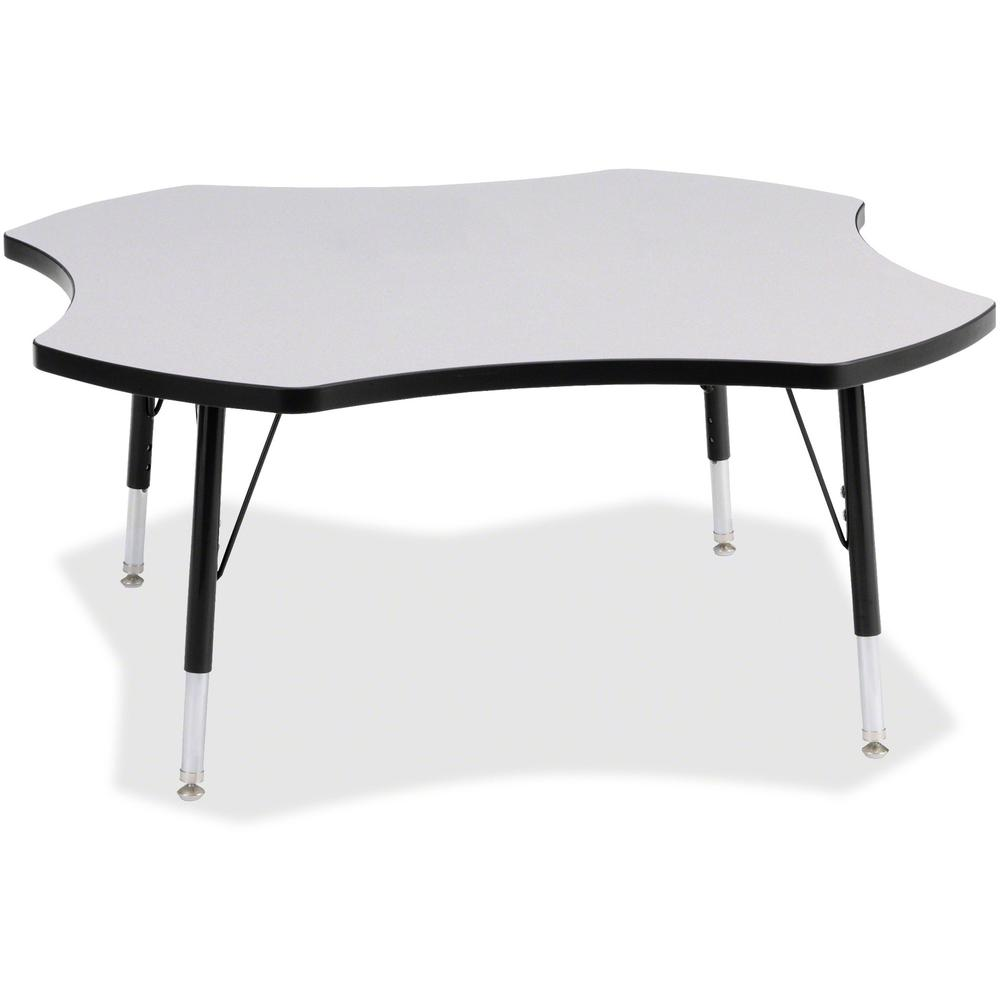 """Berries Prism Four-Leaf Student Table - Black, Laminated Top - Four Leg Base - 4 Legs - 1.13"""" Table Top Thickness x 48"""" Table Top Diameter - 15"""" Height - Assembly Required - Powder Coated. Picture 1"""