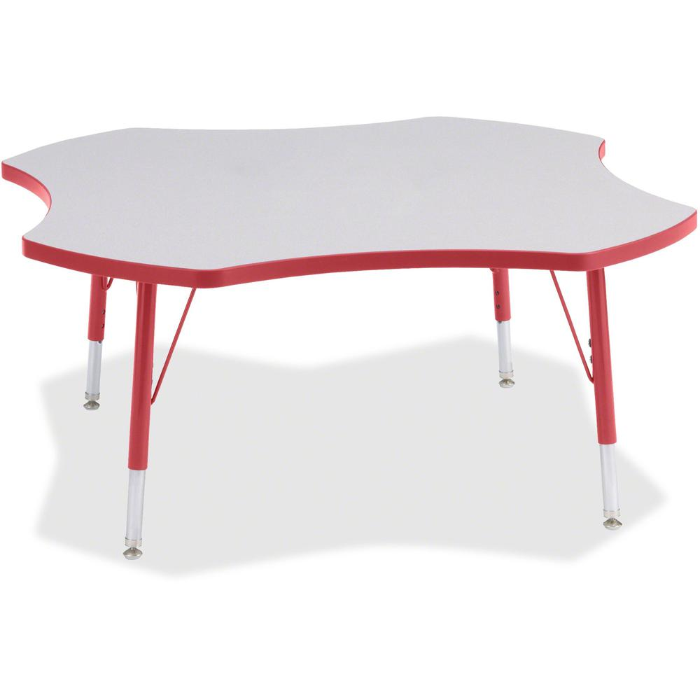 """Berries Prism Four-Leaf Student Table - Laminated, Red Top - Four Leg Base - 4 Legs - 1.13"""" Table Top Thickness x 48"""" Table Top Diameter - 15"""" Height - Assembly Required - Powder Coated. Picture 1"""