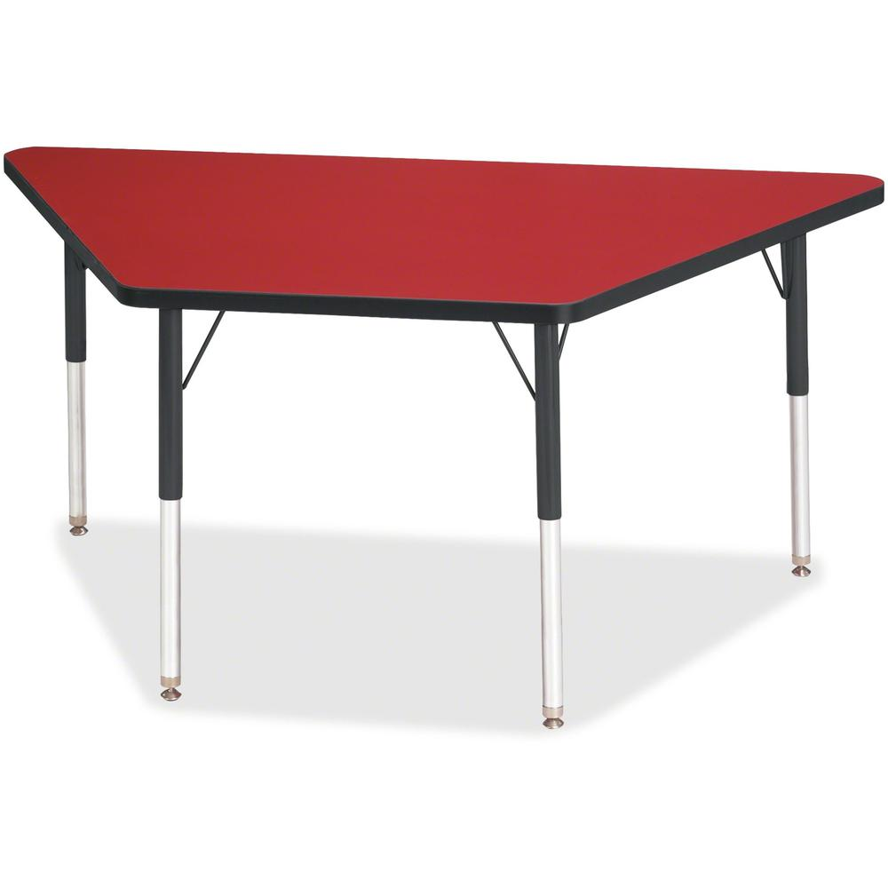 "Berries Adult-Size Classic Color Trapezoid Table - Laminated Trapezoid, Red Top - Four Leg Base - 4 Legs - 60"" Table Top Length x 30"" Table Top Width x 1.13"" Table Top Thickness - 31"" Height - Assembl. Picture 1"