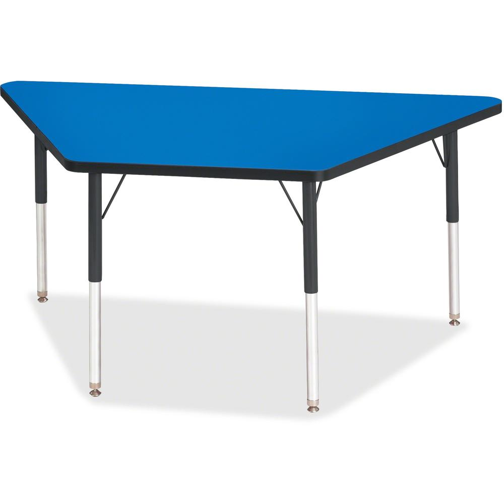 "Berries Adult-Size Classic Color Trapezoid Table - Blue Trapezoid, Laminated Top - Four Leg Base - 4 Legs - 60"" Table Top Length x 30"" Table Top Width x 1.13"" Table Top Thickness - 31"" Height - Assemb. Picture 1"
