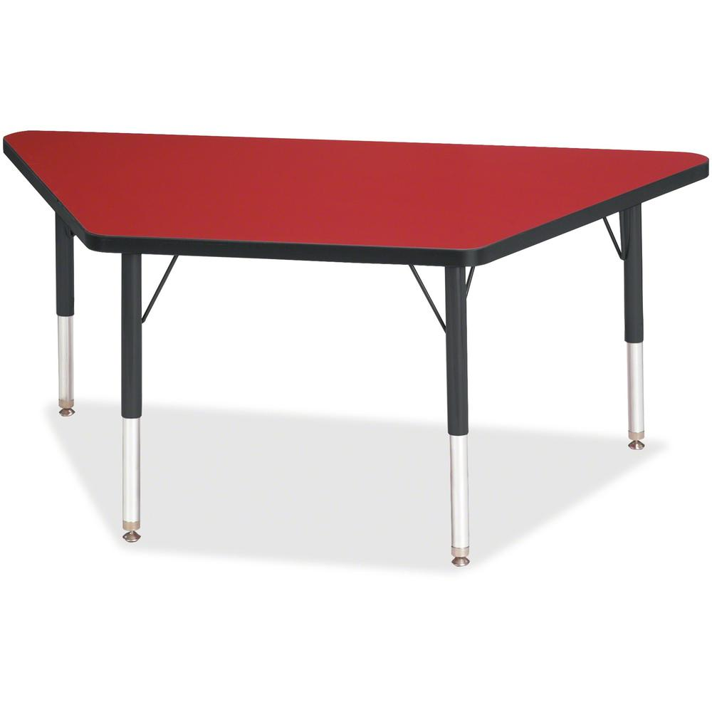 "Berries Black Edge Toddler Height Trapezoid Table - Laminated Trapezoid, Red Top - Four Leg Base - 4 Legs - 48"" Table Top Length x 24"" Table Top Width x 1.13"" Table Top Thickness - 15"" Height - Assemb. Picture 1"