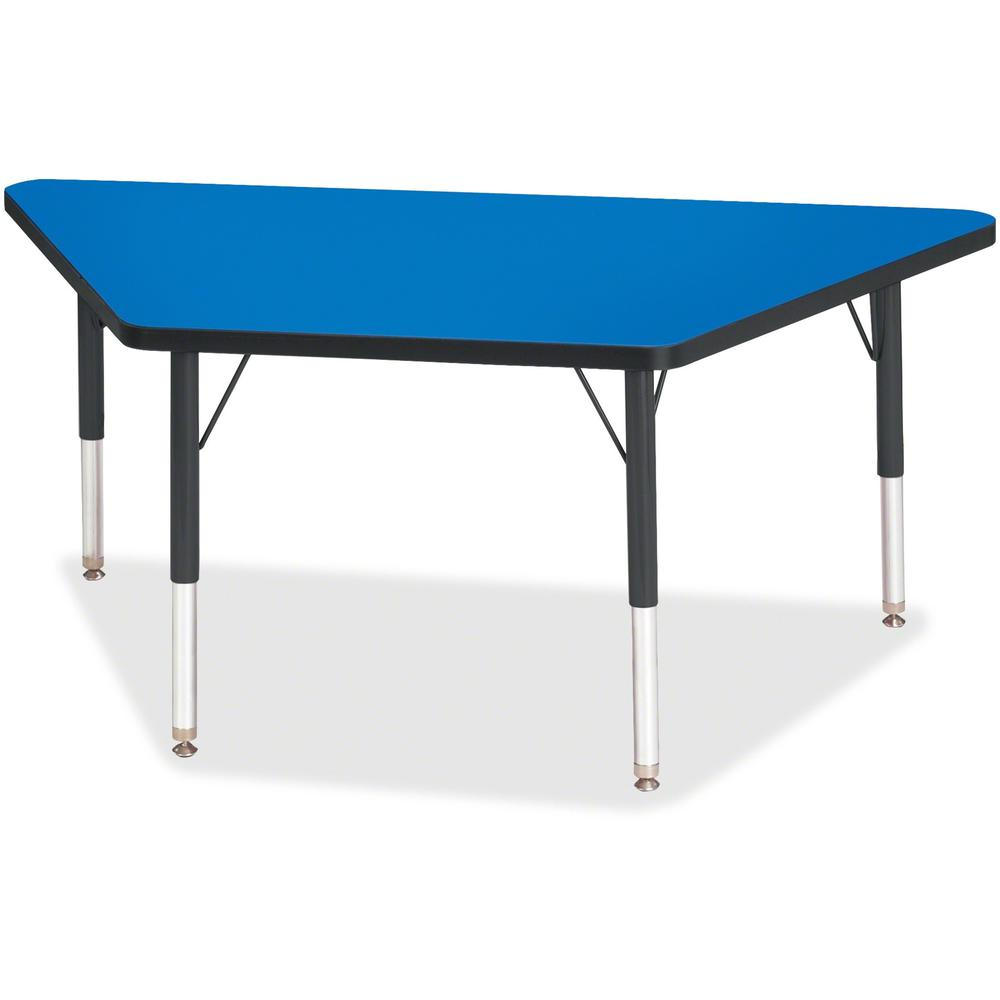 """Jonti-Craft Berries Black Edge Toddler Height Trapezoid Table - Blue Trapezoid, Laminated Top - Four Leg Base - 4 Legs - 48"""" Table Top Length x 24"""" Table Top Width x 1.13"""" Table Top Thickness - 15"""" He. Picture 1"""