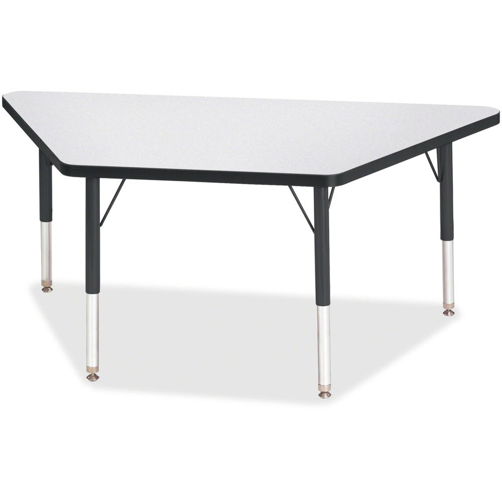 """Berries Toddler-sz Gray Top Trapezoid Table - Black Trapezoid, Laminated Top - Four Leg Base - 4 Legs - 48"""" Table Top Length x 24"""" Table Top Width x 1.13"""" Table Top Thickness - 15"""" Height - Assembly R. Picture 1"""