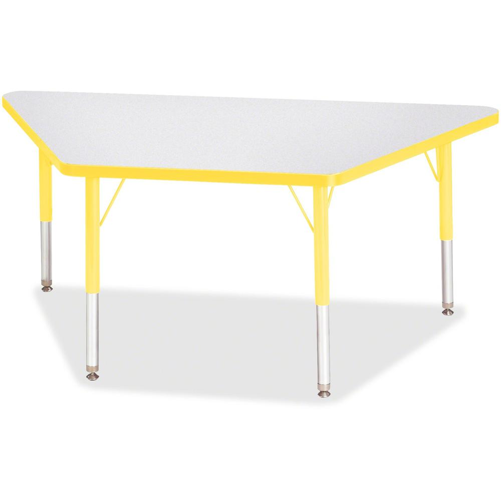 """Jonti-Craft Berries Toddler-size Gray Top Trapezoid Table - Laminated Trapezoid, Yellow Top - Four Leg Base - 4 Legs - 48"""" Table Top Length x 24"""" Table Top Width x 1.13"""" Table Top Thickness - 15"""" Heig. Picture 1"""