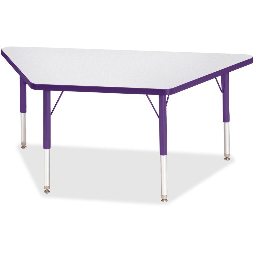 "Jonti-Craft Berries Toddler-size Gray Top Trapezoid Table - Laminated Trapezoid, Purple Top - Four Leg Base - 4 Legs - 48"" Table Top Length x 24"" Table Top Width x 1.13"" Table Top Thickness - 15"" Heig. Picture 1"