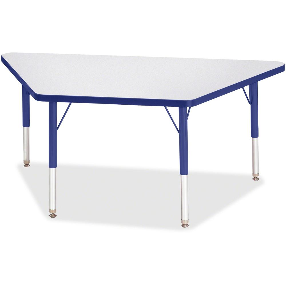 """Berries Toddler-sz Gray Top Trapezoid Table - Blue Trapezoid, Laminated Top - Four Leg Base - 4 Legs - 48"""" Table Top Length x 24"""" Table Top Width x 1.13"""" Table Top Thickness - 15"""" Height - Assembly Re. Picture 1"""