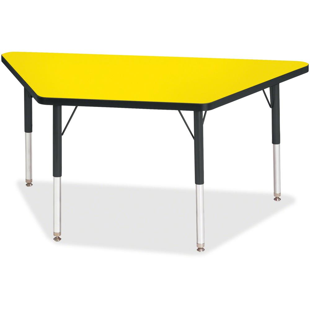 "Berries Elementary Height Classic Trapezoid Table - Laminated Trapezoid, Yellow Top - Four Leg Base - 4 Legs - 48"" Table Top Length x 24"" Table Top Width x 1.13"" Table Top Thickness - 24"" Height - Ass. Picture 1"