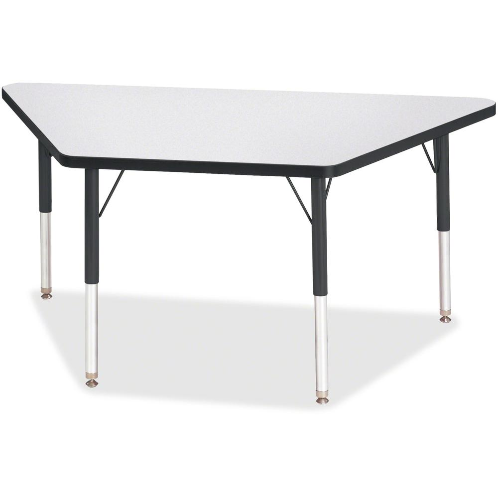 """Jonti-Craft Berries Elementary Height Prism Edge Trapezoid Table - Black Trapezoid, Laminated Top - Four Leg Base - 4 Legs - 48"""" Table Top Length x 24"""" Table Top Width x 1.13"""" Table Top Thickness - 24. Picture 1"""