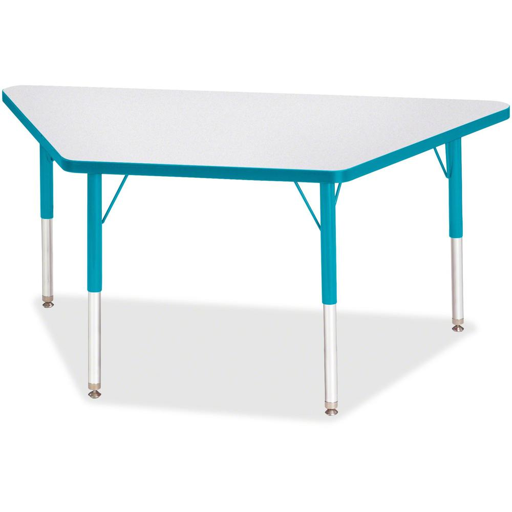"""Berries Elementary Height Prism Edge Trapezoid Table - Laminated Trapezoid, Teal Top - Four Leg Base - 4 Legs - 48"""" Table Top Length x 24"""" Table Top Width x 1.13"""" Table Top Thickness - 24"""" Height - As. Picture 1"""