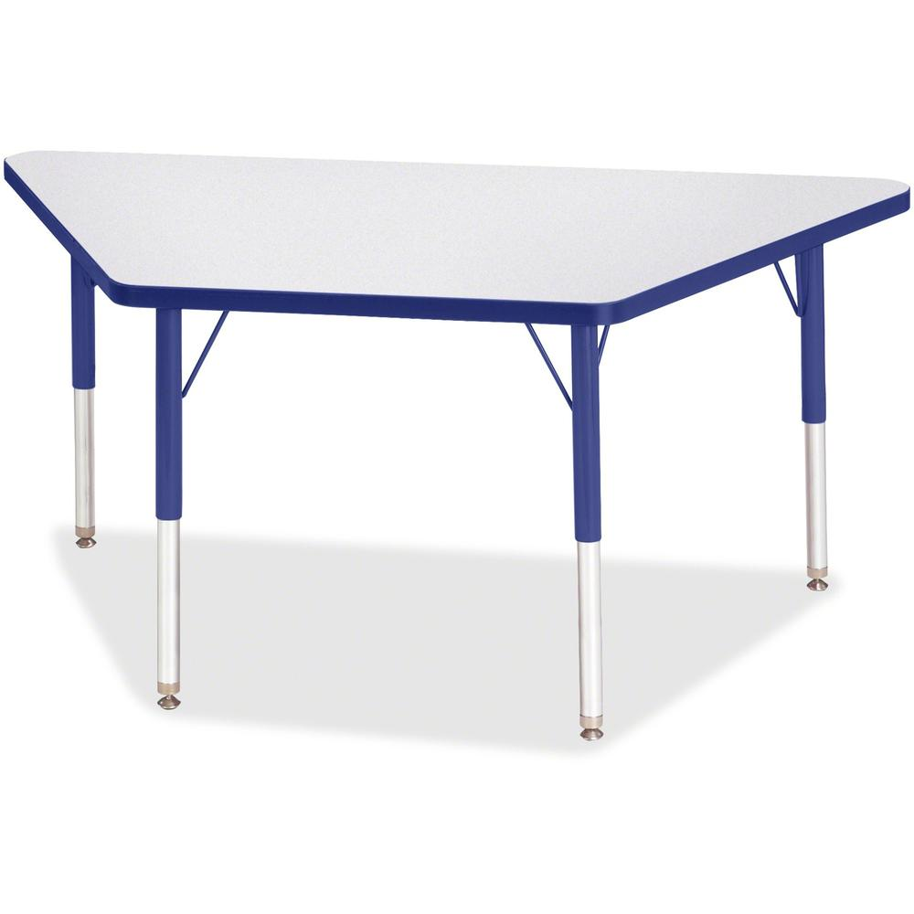 "Berries Elementary Height Prism Edge Trapezoid Table - Gray Trapezoid, Laminated Top - Four Leg Base - 4 Legs - 48"" Table Top Length x 24"" Table Top Width x 1.13"" Table Top Thickness - 24"" Height - As. Picture 1"