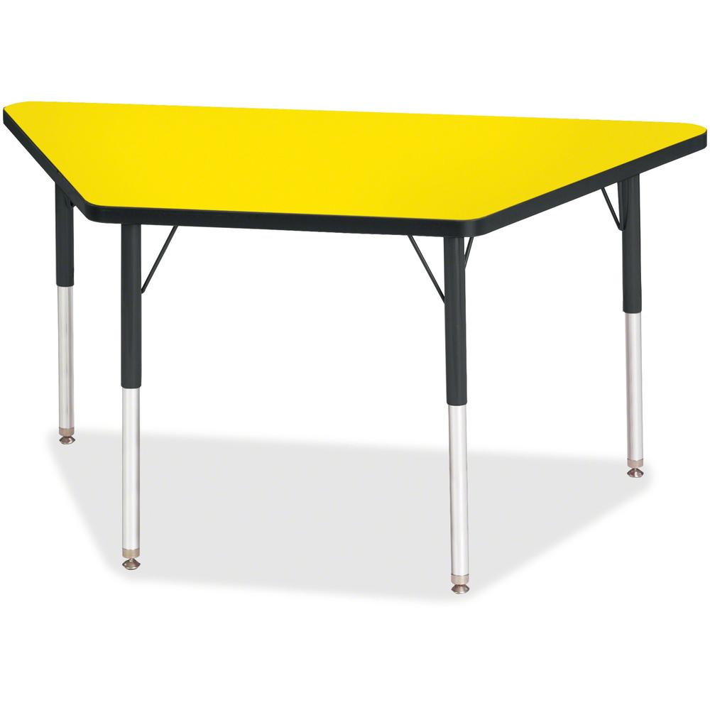 """Berries Adult-Size Classic Color Trapezoid Table - Laminated Trapezoid, Yellow Top - Four Leg Base - 4 Legs - 48"""" Table Top Length x 24"""" Table Top Width x 1.13"""" Table Top Thickness - 31"""" Height - Asse. Picture 1"""