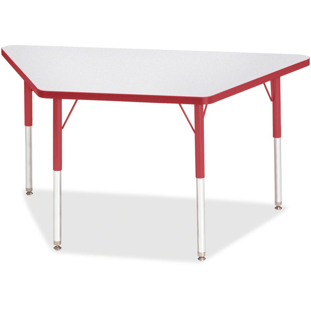"""Berries Adult-Size Gray Laminate Trapezoid Table - Laminated Trapezoid, Red Top - Four Leg Base - 4 Legs - 48"""" Table Top Length x 24"""" Table Top Width x 1.13"""" Table Top Thickness - 31"""" Height - Assembl. Picture 1"""
