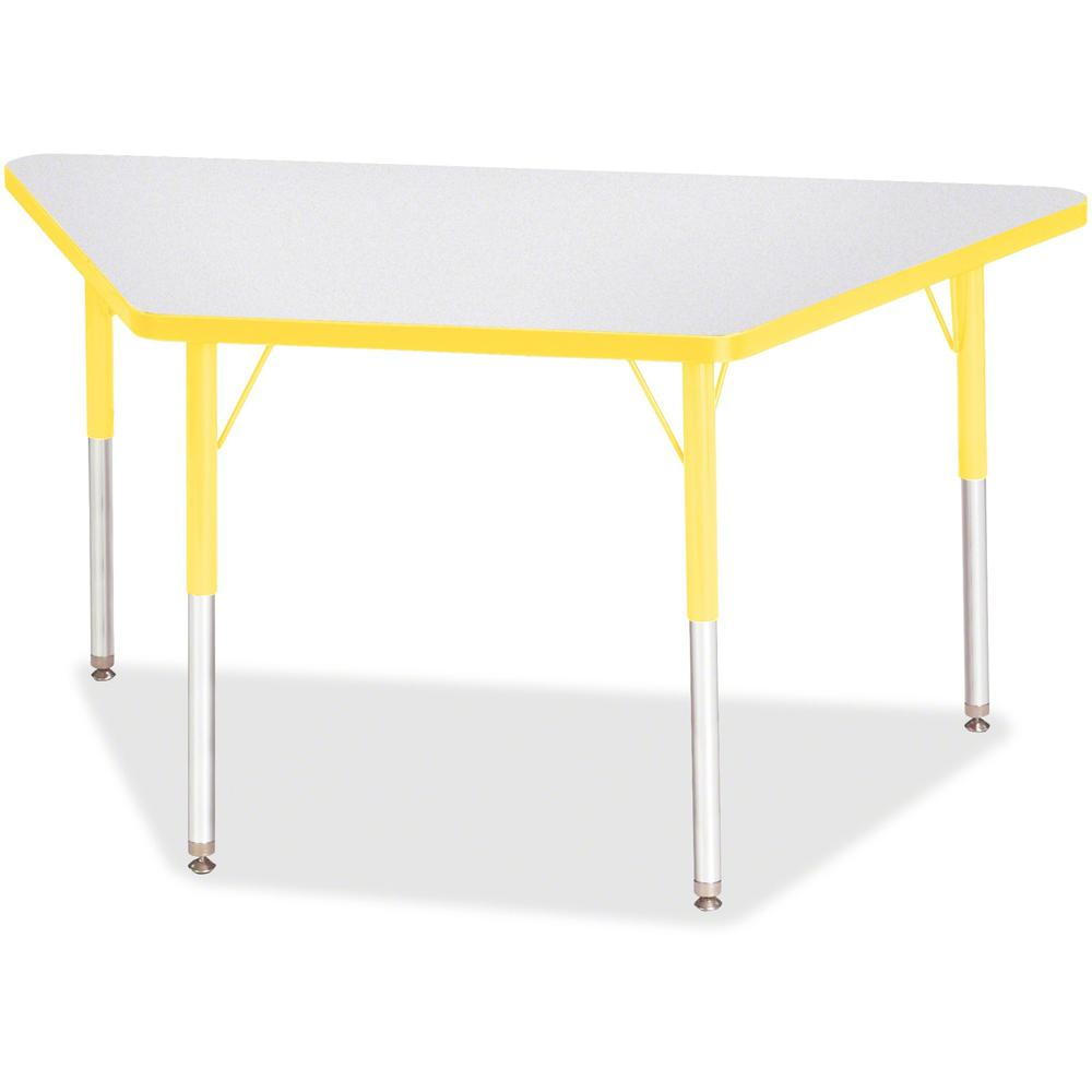"""Berries Adult-Size Gray Laminate Trapezoid Table - Laminated Trapezoid, Yellow Top - Four Leg Base - 4 Legs - 48"""" Table Top Length x 24"""" Table Top Width x 1.13"""" Table Top Thickness - 31"""" Height - Asse. Picture 1"""