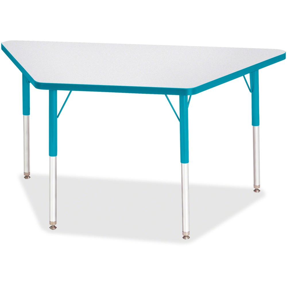 """Jonti-Craft Berries Adult-Size Gray Laminate Trapezoid Table - Laminated Trapezoid, Teal Top - Four Leg Base - 4 Legs - 48"""" Table Top Length x 24"""" Table Top Width x 1.13"""" Table Top Thickness - 31"""" Hei. Picture 1"""