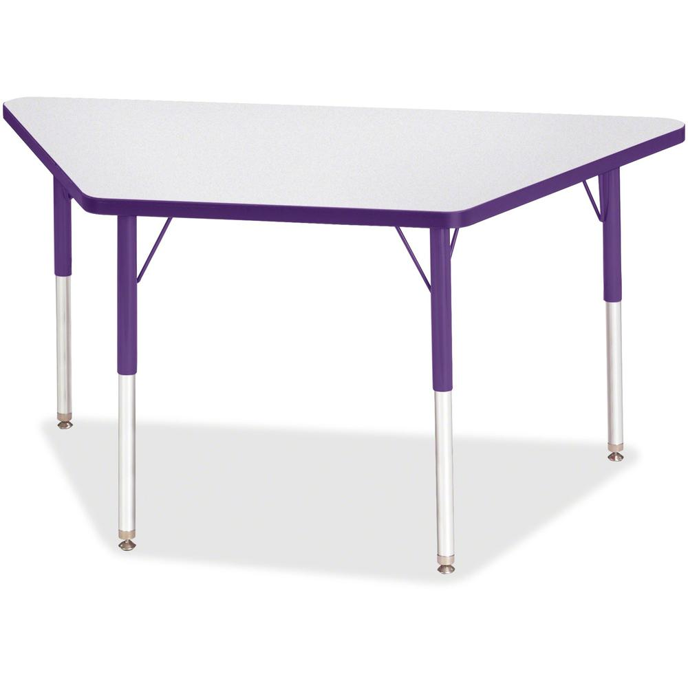 "Jonti-Craft Berries Adult-Size Gray Laminate Trapezoid Table - Laminated Trapezoid, Purple Top - Four Leg Base - 4 Legs - 48"" Table Top Length x 24"" Table Top Width x 1.13"" Table Top Thickness - 31"" H. Picture 1"