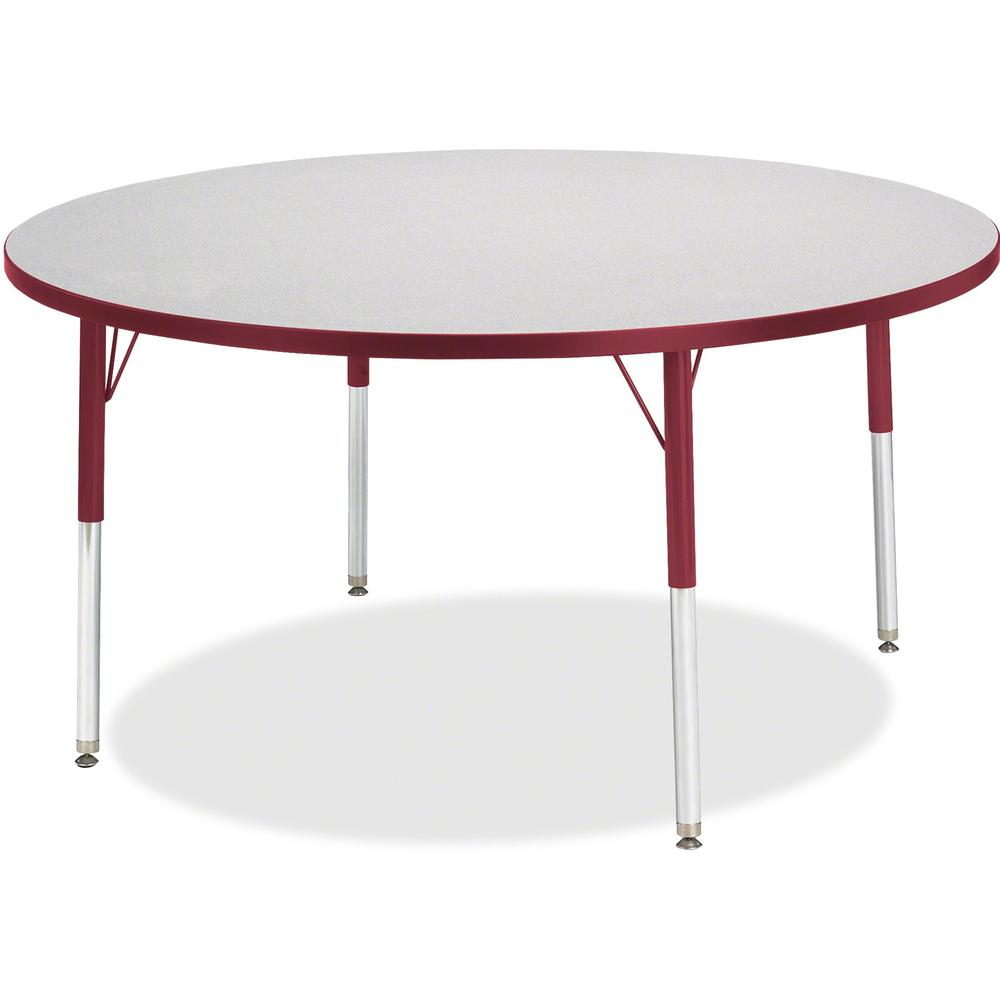 "Berries Toddler Height Color Edge Round Table - Laminated Round, Red Top - Four Leg Base - 4 Legs - 1.13"" Table Top Thickness x 48"" Table Top Diameter - 15"" Height - Assembly Required - Powder Coated. Picture 1"