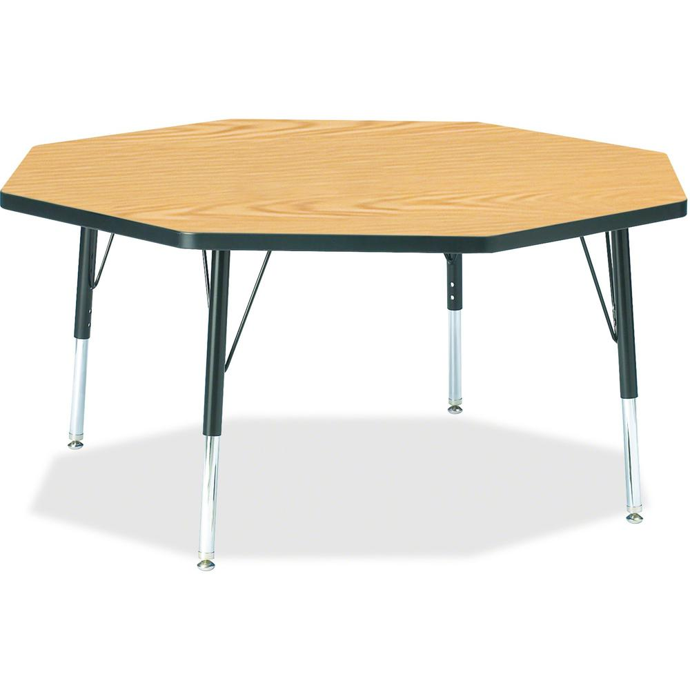 "Berries Toddler Height Color Top Octagon Table - Black Oak Octagonal, Laminated Top - Four Leg Base - 4 Legs - 1.13"" Table Top Thickness x 48"" Table Top Diameter - 15"" Height - Assembly Required - Pow. Picture 1"