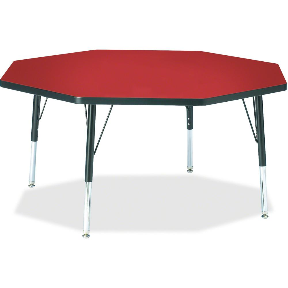 "Berries Toddler Height Color Top Octagon Table - Laminated Octagonal, Red Top - Four Leg Base - 4 Legs - 1.13"" Table Top Thickness x 48"" Table Top Diameter - 15"" Height - Assembly Required - Powder Co. The main picture."
