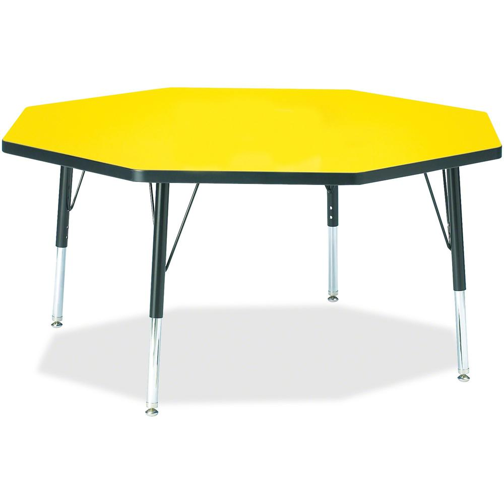 """Berries Toddler Height Color Top Octagon Table - Laminated Octagonal, Yellow Top - Four Leg Base - 4 Legs - 1.13"""" Table Top Thickness x 48"""" Table Top Diameter - 15"""" Height - Assembly Required - Powder. Picture 1"""