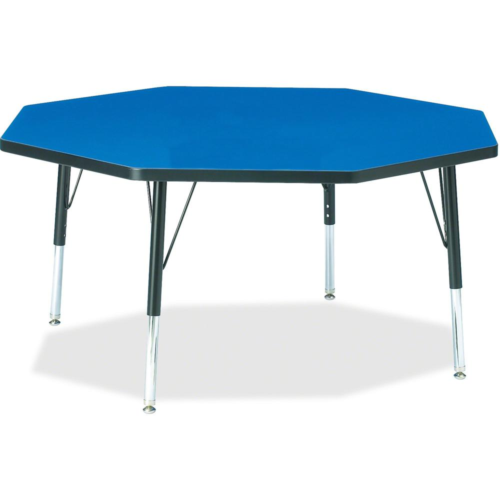 "Berries Toddler Height Color Top Octagon Table - Blue Octagonal, Laminated Top - Four Leg Base - 4 Legs - 1.13"" Table Top Thickness x 48"" Table Top Diameter - 15"" Height - Assembly Required - Powder C. Picture 1"