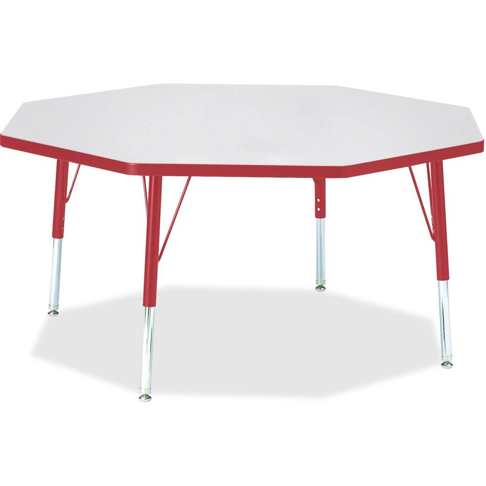 """Berries Toddler Height Color Edge Octagon Table - Laminated Octagonal, Red Top - Four Leg Base - 4 Legs - 1.13"""" Table Top Thickness x 48"""" Table Top Diameter - 15"""" Height - Assembly Required - Powder C. Picture 1"""