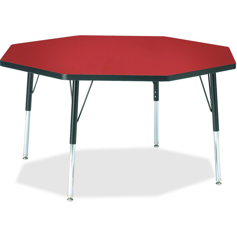 """Berries Elementary Height Color Top Octagon Table - Laminated Octagonal, Red Top - Four Leg Base - 4 Legs - 1.13"""" Table Top Thickness x 48"""" Table Top Diameter - 24"""" Height - Assembly Required - Powder. Picture 1"""